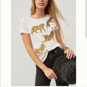 Anthropologie Tigers graphic tee